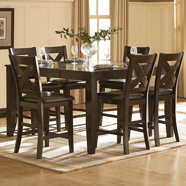 Tribecca Home Acton Warm Merlot X Back Casual Dining Side: TRIBECCA HOME Acton Merlot Counter Height Dining Table