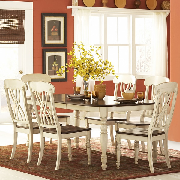 Country White Dining Table: TRIBECCA HOME Mackenzie Country Antique White Dining Table