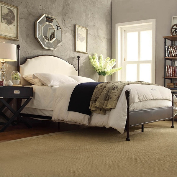 Inspire q andover cream curved top cherry brown metal poster bed aecfb373 f009 47eb 90c6 0d2680c2300e 600
