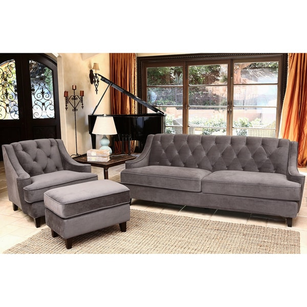 Overstock Living Room Sets: Abbyson Living Claridge Velvet Fabric 3-piece Dark Grey