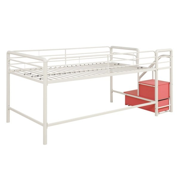 Dhp Junior Pink And White Twin Loft Bed With Storage Steps