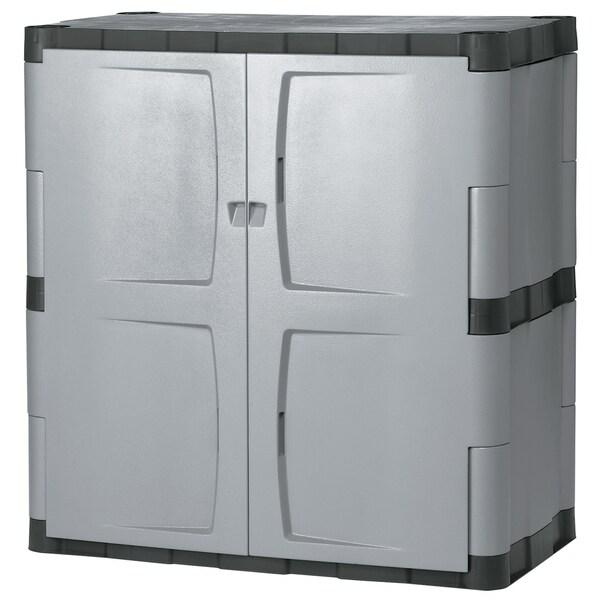 Rubbermaid Grey Black Double Door Storage Cabinet