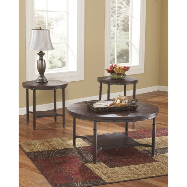 Stylecraft Barclay Brass 3 Piece Living Room Accent Table: Signature Design By Ashley 'Sandling' 3-piece Occasional