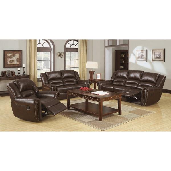Leather Living Room Set Clearance: Furniture Of America Harv 3-Piece Bonded Leather Sofa Set