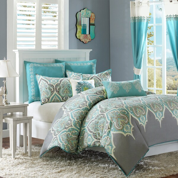 Madison Park Tara Cotton 7 Piece Comforter Set Including Euro Sham Amp Decorative Pillows