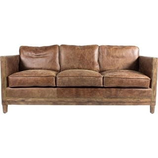 Brandon Distressed Whiskey Italian Leather Sofa And Two