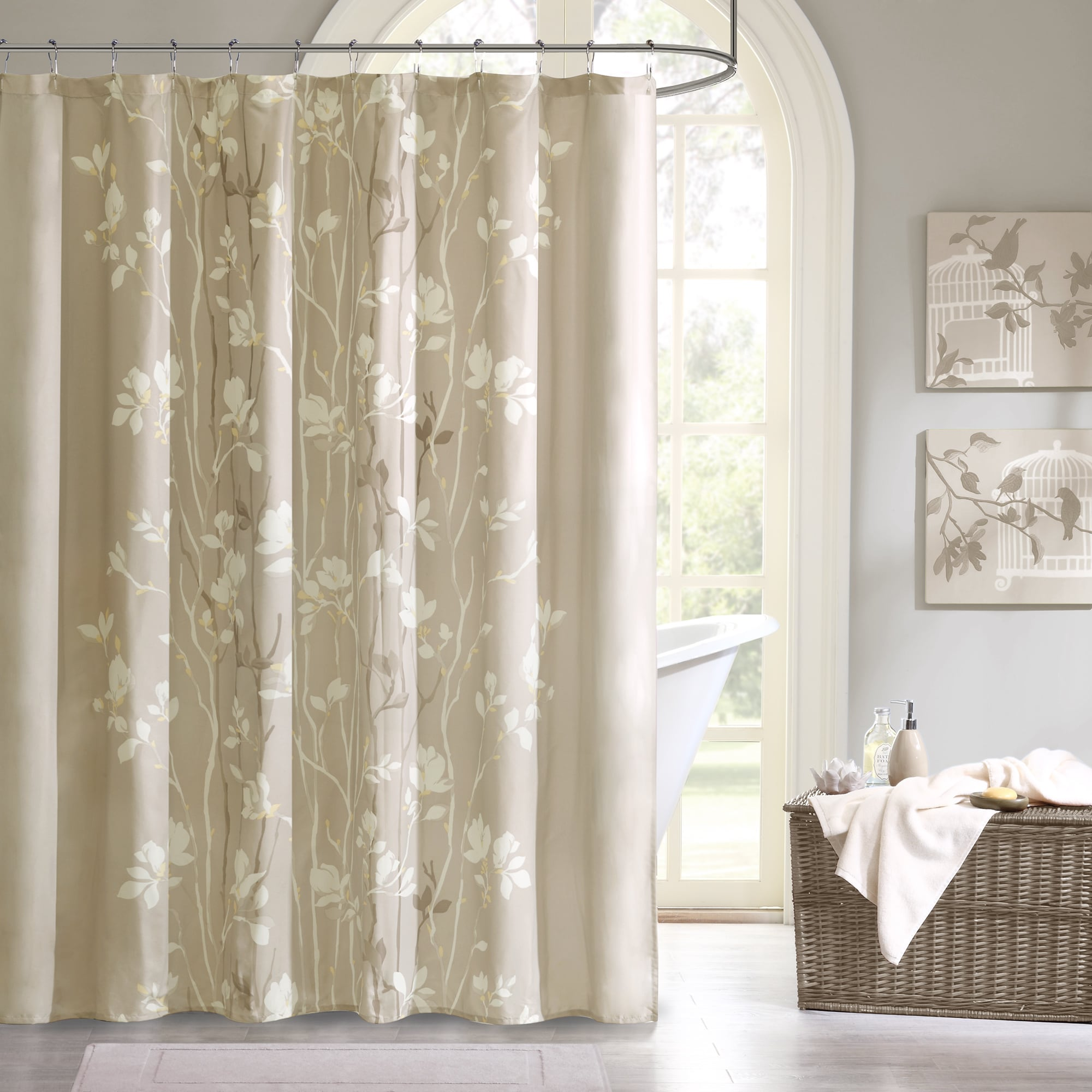 NEW Floral Tree Shower Curtain Nature Taupe Bathroom