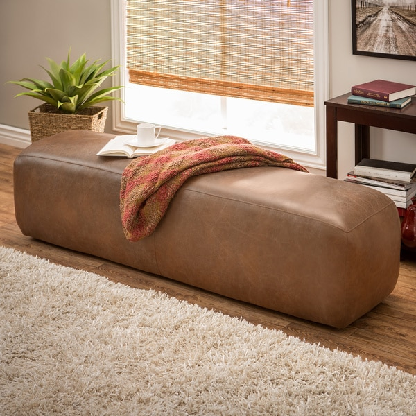 Dante Oxford Tan Italian Leather Bench Overstock