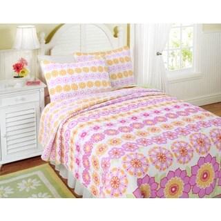 Orange Zig Zag Cotton 3 Piece Quilt Set 13941232