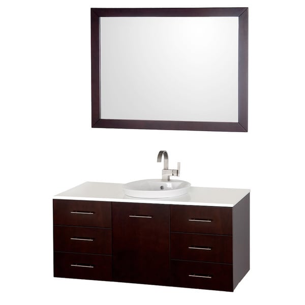 Wyndham collection arrano espresso 48 inch single bathroom - 48 inch white bathroom vanity with top ...