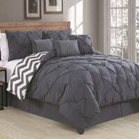 Porch & Den Crestline Bienville Pinch Pleat 7-piece Reversible Comforter Set