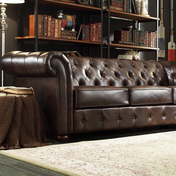 Signal Hills Knightsbridge Brown Bonded Leather Tufted
