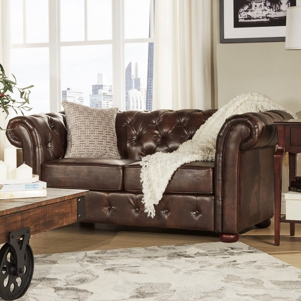 Tribecca Home Knightsbridge Brown Bonded Leather Tufted