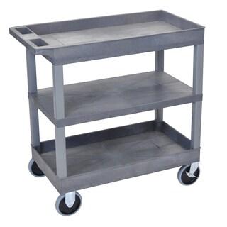 Luxor Silver Three Shelf Rolling Stainless Steel Kitchen
