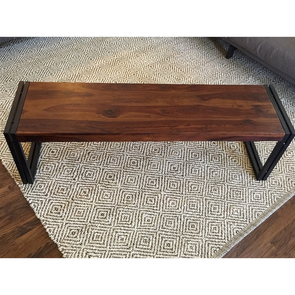 Timbergirl Reclaimed Seesham Wood Bench With Metal Legs