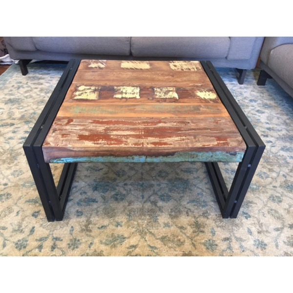 Timbergirl Rustic Reclaimed Wood Coffee Table (India