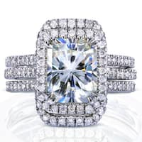 Annello by Kobelli White Gold 3 3/8ct TGW Radiant Moissanite and Diamond Rectangular Halo Bridal Rings Set (3 Piece Set)