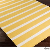 Hand-woven Chur Flatweave Striped Wool Area Rug - 2' x 3'