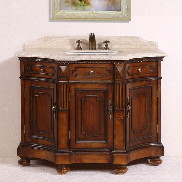 Legion furniture white travertine top medium brown 48 inch - 48 inch white bathroom vanity with top ...