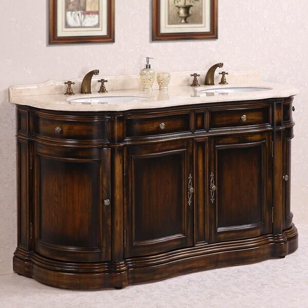Legion Furniture Myra Beige Marble Top 66 Inch Antique