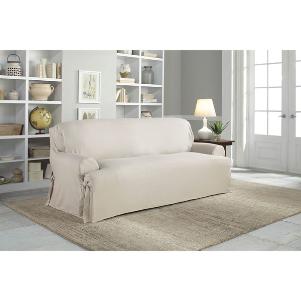 T Cushion Sofa Slip Cover: Tailor Fit Relaxed Fit Cotton Duck T-cushion Sofa