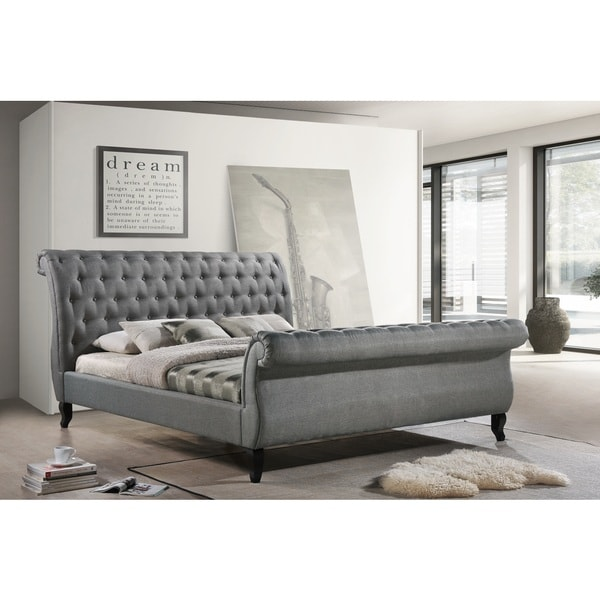 Luxeo Nottingham King Grey Tufted Fabric Upholstered