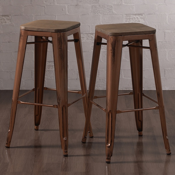 Tabouret Brushed Copper Bar Stool With Wood Seat Set Of 2