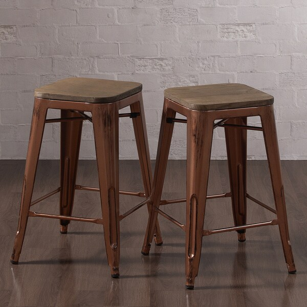 Tabouret Brushed Copper Counter Stool With Wood Seat Set