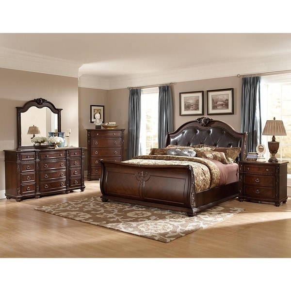 Oakmont Manor Black Leather Tufted 5-Piece Marble Top