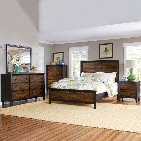 TRIBECCA HOME Draven Espresso Drifted Oak 5-piece Bedroom
