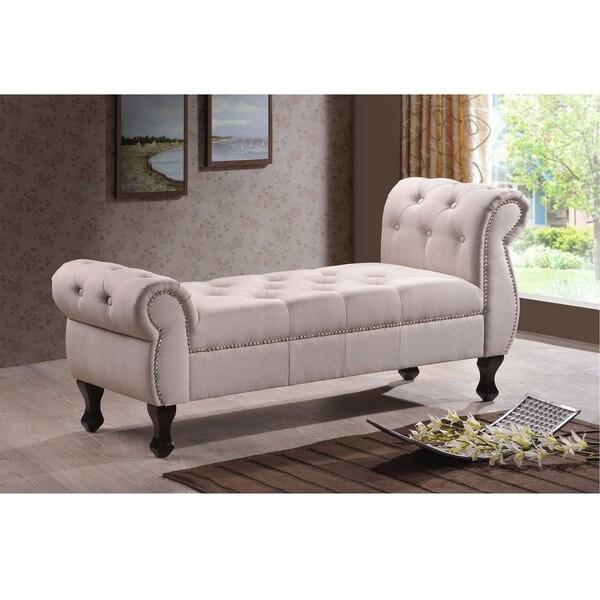 Baxton Studio Madelyn Beige Linen Modern Banquette Bench: Baxton Studio Zook Light Beige/Grey Upholstered Modern