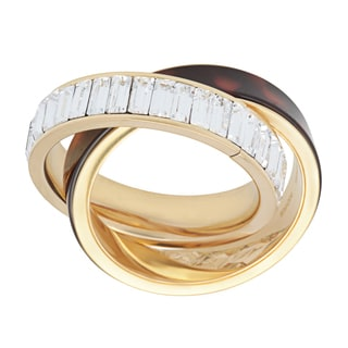 Michael Kors Goldtone And Tortoise Ring Set With Clear