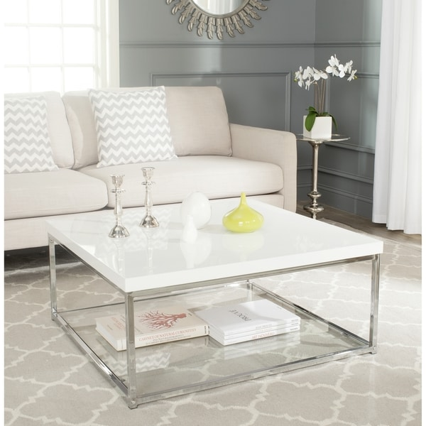 Safavieh Malone White Chrome Coffee Table 16722618