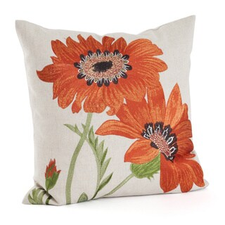 Embroidered Floral Poly Filled Throw Pillow