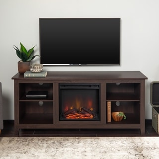 altra cherry carson 70 inch fireplace tv console 17622585 shopping great. Black Bedroom Furniture Sets. Home Design Ideas