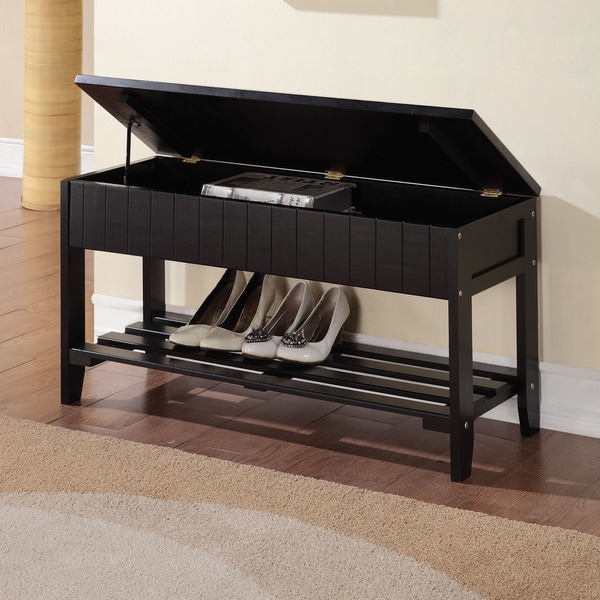Black Solid Wood Storage Bench With Shoe Shelf 16732873