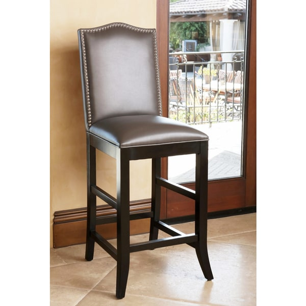 Abbyson Living Stacy Grey Leather Nailhead Trim Barstool
