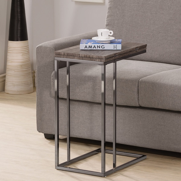 Weathered Grey Finish Expandable Side End Table