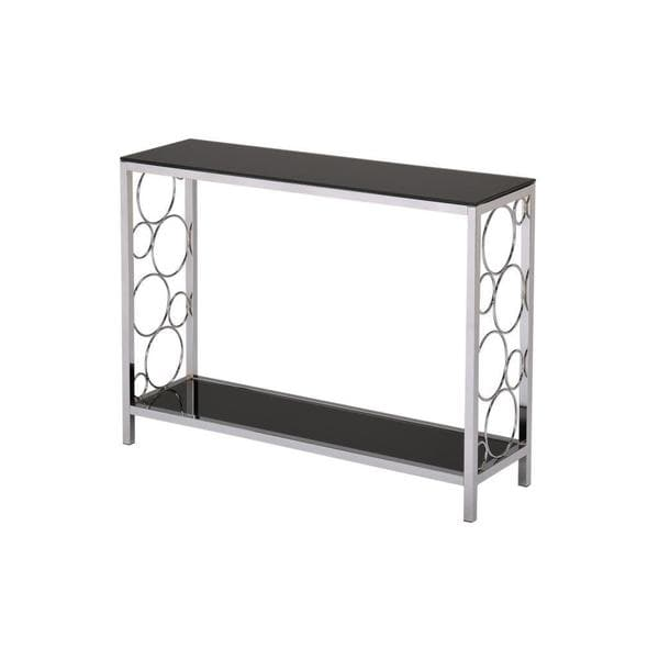Infinity Chrome And Black Tempered Glass Console Table