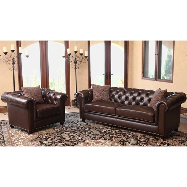 Best Living Room Furniture Deals: ABBYSON LIVING Carmela Chesterfield Premium Top Grain