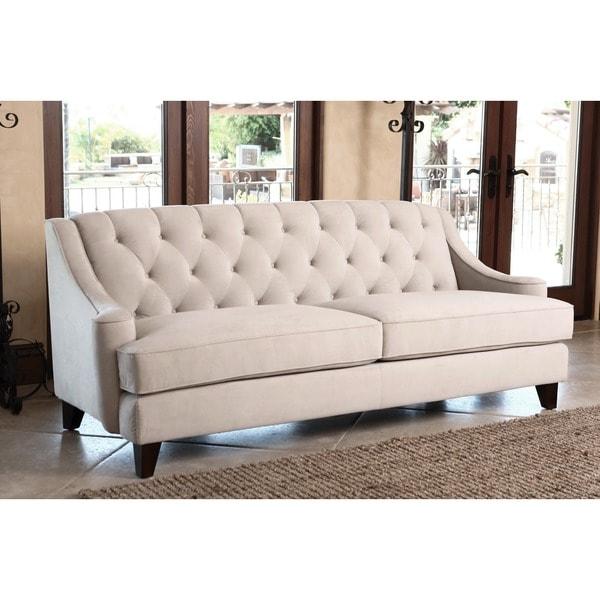 Abbyson Living Claridge Taupe Velvet Fabric Tufted Sofa