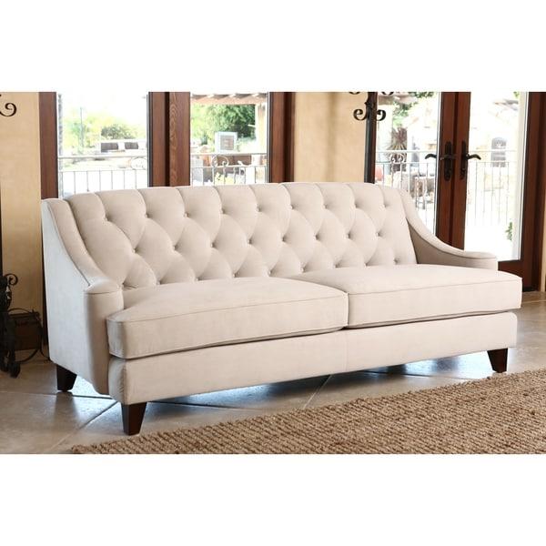ABBYSON LIVING Claridge Beige Velvet Fabric Tufted Sofa ...