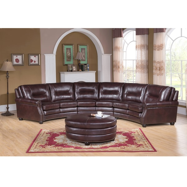 Centro Chocolate Brown Curved Top Grain Leather Sectional