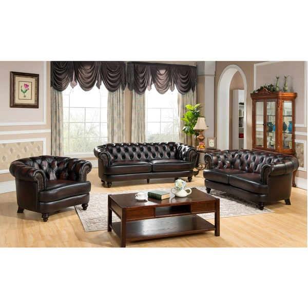 Moore Tufted Brown Chesterfield Top Grain Leather Sofa
