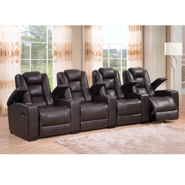 Weston Four Seat Brown Top Grain Leather Recliner Home Theater Seating Set 16737810