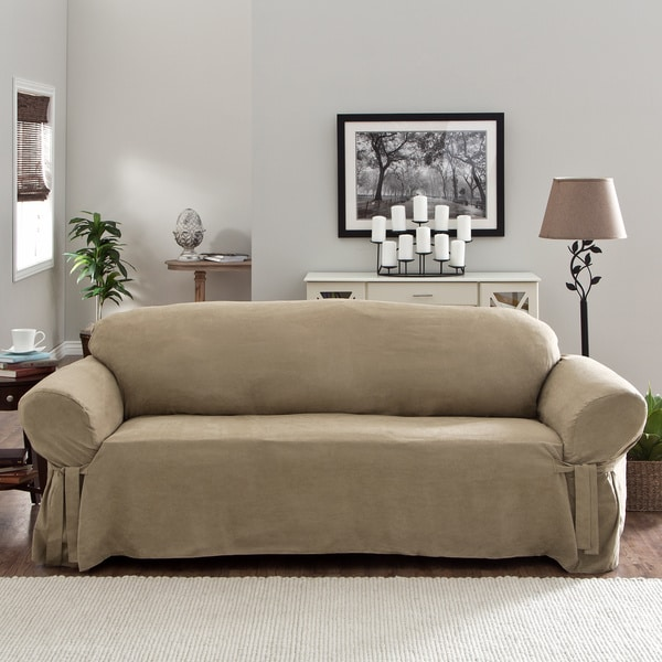 Ruffled Sofa Slipcover Tailor Fit Relaxed Fit Smooth Suede Sofa Slipcover ...