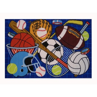 Sports Ball Themed Multi Cotton Rug 3 Round 13499293