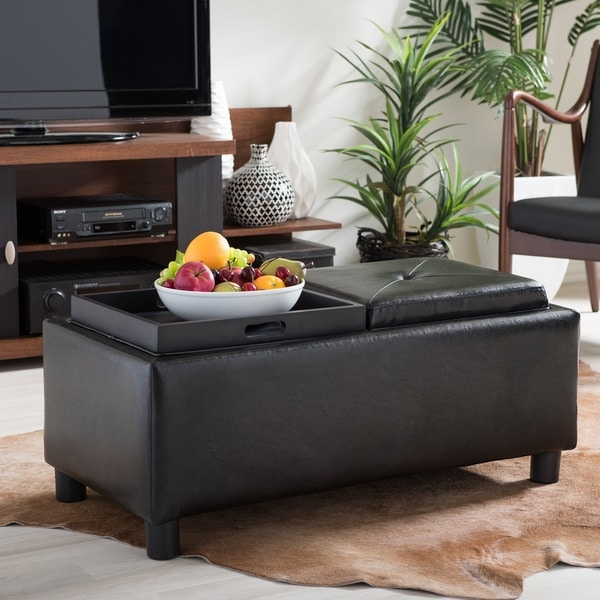 Baxton Studio Billiard Rectangular Bonded Leather Storage