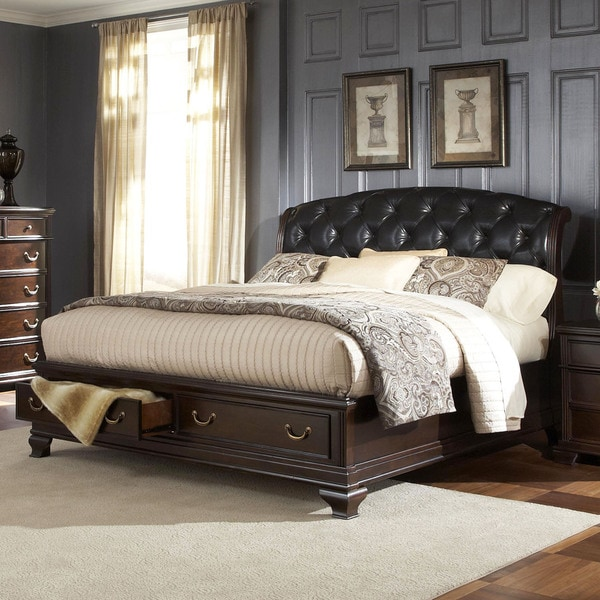 Victoria Edward Cherry Brown Tufted Bonded Leather Queen