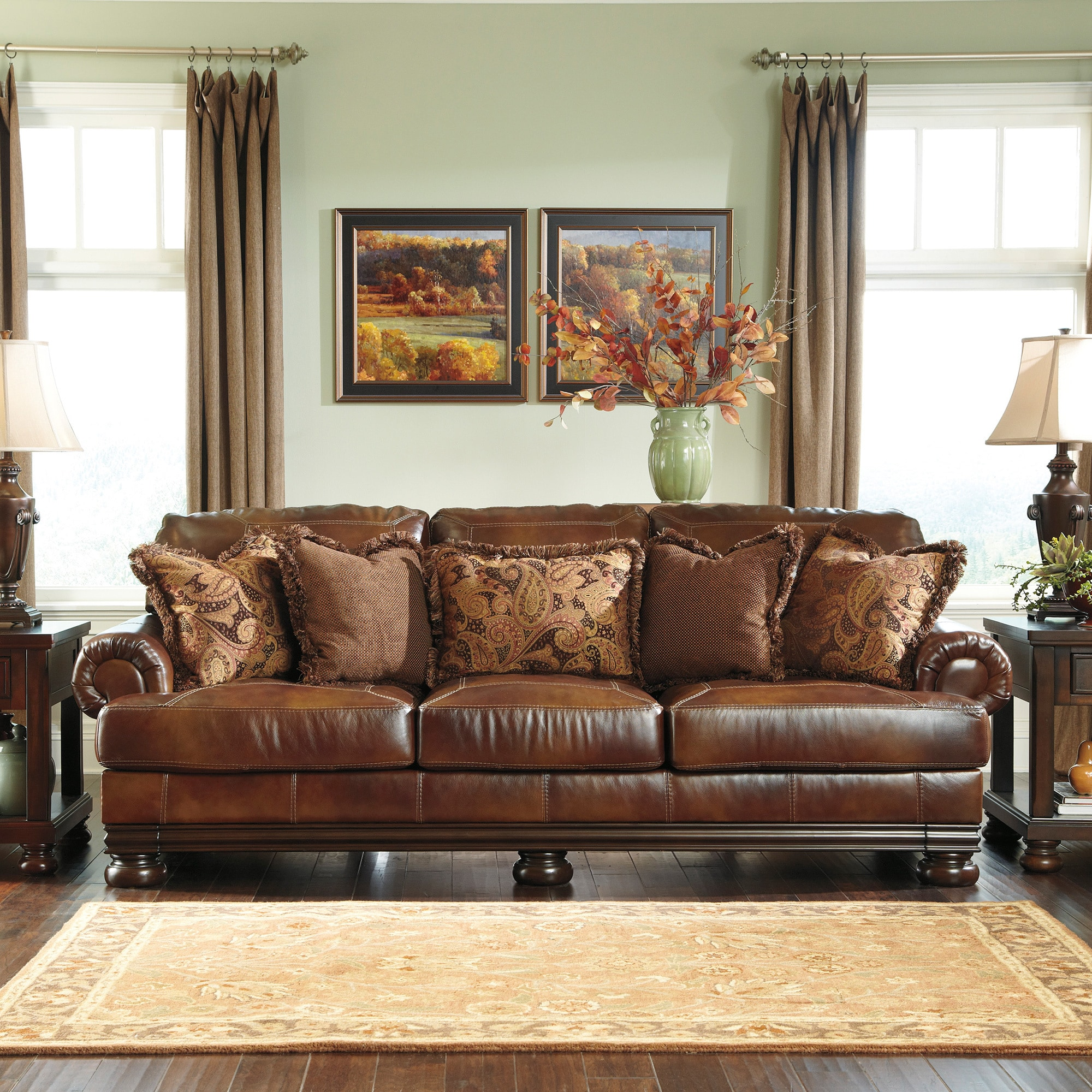Ashley Leather Sofa: Signature Designs By Ashley 'Hutcherson' Harness Brown